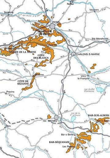 Chaque région de Champagne détaillée sur une carte de la zone d'appellation champenoise - Copyright Quitou