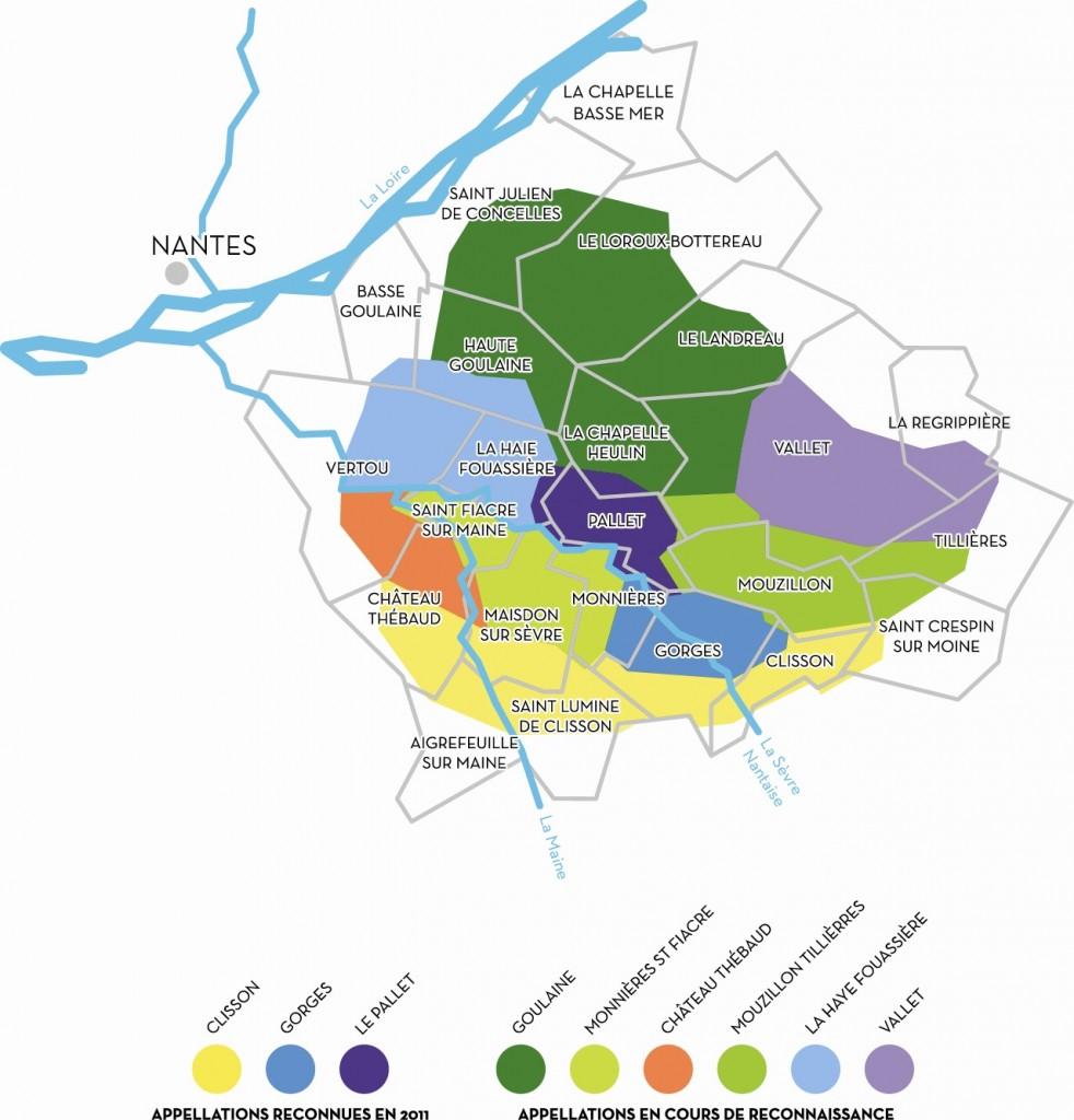 Carte des crus du muscadet